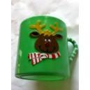Green Holiday Reindeer Mug