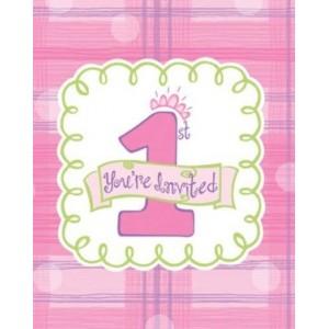 1st Birthday Invitations - Girl